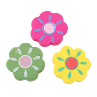 Wood Beads, Flower, printing, mixed colors, 23x23x4mm, Hole:Approx 2mm, Approx 625PCs/Bag, Sold By Bag