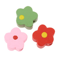 Wood Beads, Flower, mixed colors, 12x12x6mm, Hole:Approx 2mm, Approx 1660PCs/Bag, Sold By Bag