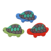 Wood Beads, Turtle, printing, mixed colors, 32x20x5mm, Hole:Approx 2mm, Approx 555PCs/Bag, Sold By Bag