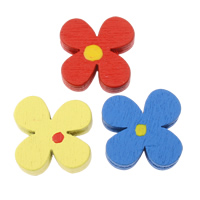 Wood Beads, Flower, with round spot pattern, mixed colors, 17x17x5mm, Hole:Approx 2mm, Approx 830PCs/Bag, Sold By Bag