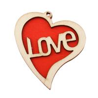 Zawieszki z drewna, Drewno, Serce, słowo miłość, czerwony, 47.50x51x5mm, otwór:około 2mm, 200komputery/torba, sprzedane przez torba
