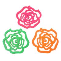 Zawieszki z drewna, Drewno, Kwiat, mieszane kolory, 47x46x2mm, otwór:około 1mm, 200komputery/torba, sprzedane przez torba