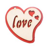 Zawieszki z drewna, Drewno, Serce, słowo miłość, czerwony, 44x47x4.50mm, otwór:około 2.5mm, 200komputery/torba, sprzedane przez torba
