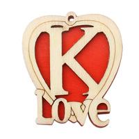 Zawieszki z drewna, Drewno, Serce, słowo miłość, czerwony, 43x48.50x5mm, otwór:około 2mm, 200komputery/torba, sprzedane przez torba
