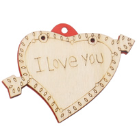 Zawieszki z drewna, Drewno, Serce, słowo kocham cię, czerwony, 59x46x5mm, otwór:około 3mm, 200komputery/torba, sprzedane przez torba