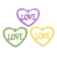 Zawieszki z drewna, Drewno, Serce, słowo miłość, mieszane kolory, 55x45x3mm, otwór:około 1mm, 200komputery/torba, sprzedane przez torba