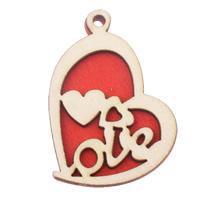 Zawieszki z drewna, Drewno, Serce, słowo miłość, czerwony, 33x44.50x4.50mm, otwór:około 3mm, 200komputery/torba, sprzedane przez torba
