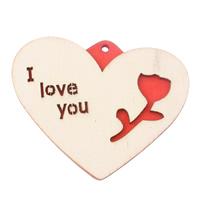 Zawieszki z drewna, Drewno, Serce, słowo kocham cię, czerwony, 55x44x4.50mm, otwór:około 2mm, 200komputery/torba, sprzedane przez torba