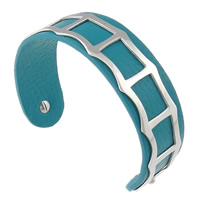 316L Stainless Steel Cuff Bangle, with Cowhide, blue, 19mm, 62.5x48mm, Length:Approx 7.8 Inch, Sold By PC