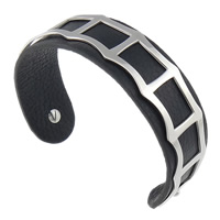 316L Stainless Steel Cuff Bangle with Cowhide black 19mm 62.5x48mm Length:Approx 7.8 Inch