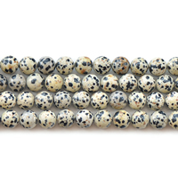 Natural Dalmatian Beads, Round, different size for choice, Length:Approx 15 Inch, Sold By Lot