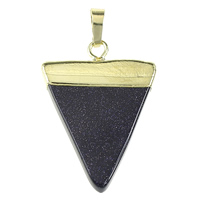 Blue Goldstone Pendant, with Brass, Triangle, gold color plated, natural, nickel, lead & cadmium free, 25x35x4mm, Hole:Approx 5x7mm, 10PCs/Bag, Sold By Bag