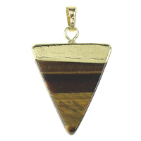 Natural Tiger Eye Pendants, with Brass, Triangle, gold color plated, nickel, lead & cadmium free, 25x35x4mm, Hole:Approx 5x7mm, 10PCs/Bag, Sold By Bag