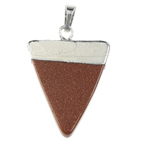 Natural Goldstone Pendants, with Brass, Triangle, platinum color plated, nickel, lead & cadmium free, 25x35x4mm, Hole:Approx 5x7mm, 10PCs/Bag, Sold By Bag