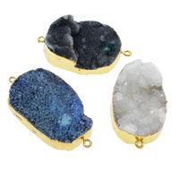 Druzy Connector Ice Quartz Agate with Brass gold color plated druzy style   mixed   1/1 loop 27x45x9mm-33x52x13mm Hole:Approx 2mm 10PCs/Bag
