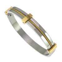 Stainless Steel Bangle, plated, two tone, 8mm, Inner Diameter:Approx 63x52mm, Length:Approx 7 Inch, Sold By PC