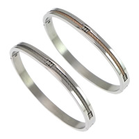 Stainless Steel Bangle, plated, more colors for choice, 5.50mm, Inner Diameter:Approx 59x52mm, Length:Approx 7 Inch, Sold By PC