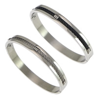 Stainless Steel Bangle, plated, more colors for choice, 8mm, Inner Diameter:Approx 61x55mm, Length:Approx 7.5 Inch, Sold By PC