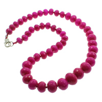 Dyed Marble Necklace, zinc alloy lobster clasp, Rondelle, faceted, fuchsia, 10-16mm, Sold Per Approx 20.5 Inch Strand