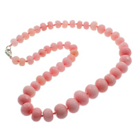 Dyed Marble Necklace, zinc alloy lobster clasp, Rondelle, faceted, pink, 10-16mm, Sold Per Approx 20.5 Inch Strand
