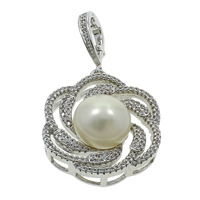 Freshwater Pearl Pendants with Brass Flower silver color plated natural   micro pave cubic zirconia white 13-14mm 26x46x12mm Hole:Approx 7x10mm