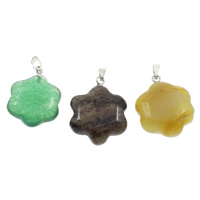 Mixed Gemstone Pendants, with brass bail, natural, 20x25x6mm, 130x100x15mm, Hole:Approx 1.5x4mm, 12PCs/Box, Sold By Box