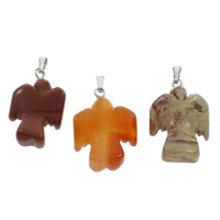 Mixed Gemstone Pendants, with brass bail, natural, 16x24x7mm, 130x100x15mm, Hole:Approx 2x5mm, 12PCs/Box, Sold By Box