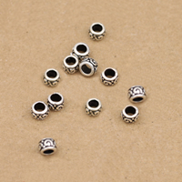 Thailand Sterling Silver Large Hole Bead, 4.5mm, Hole:Approx 2.7mm, 60PCs/Lot, Sold By Lot