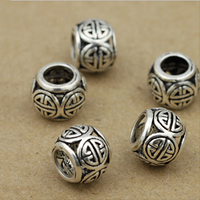 Thailand Sterling Silver Large Hole Bead, Drum, different size for choice & hollow, Sold By Lot