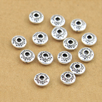 Thailand Sterling Silver Spacer Bead, Flat Round, 6.5x3mm, Hole:Approx 2mm, 50PCs/Lot, Sold By Lot