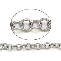 Stainless Steel Rolo Chain, 304 Stainless Steel, round link chain, original color, 5.5x1mm, 25m/Bag, Sold By Bag