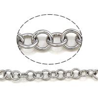 Łańcuch ze stali nierdzewnej Rolo, Stal nierdzewna 304, okrągłe ogniwa łańcucha, oryginalny kolor, 5.5x1mm, 25m/torba, sprzedane przez torba