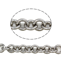 Stainless Steel Rolo Chain, 304 Stainless Steel, round link chain, original color, 7x1.5mm, 25m/Bag, Sold By Bag