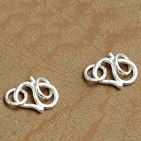 925 Sterling Silver S Shape Clasp, Letter S, 10x7.5mm, 25PCs/Lot, Sold By Lot
