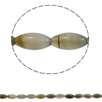 Natural Grey Agate Beads, Oval, 10x20mm, Hole:Approx 1mm, 20PCs/Strand, Sold Per Approx 15.3 Inch Strand