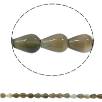 Natural Grey Agate Beads, Teardrop, 10x14mm, Hole:Approx 1mm, 28PCs/Strand, Sold Per Approx 15.7 Inch Strand