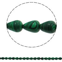 Malachite Beads, Teardrop, 10x14mm, Hole:Approx 1mm, 28PCs/Strand, Sold Per Approx 15.7 Inch Strand