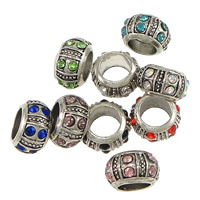Zinc Alloy Large Hole Bead Donut antique silver color plated with rhinestone nickel lead   cadmium free 7x12.50mm Hole:Approx 7.5mm 200PCs/Lot