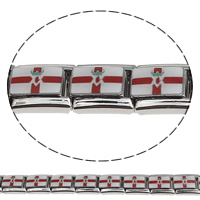 Stainless Steel Italian Charm Link, Rectangle, enamel, multi-colored, 9x10x5mm, 10PCs/Bag, Sold By Bag