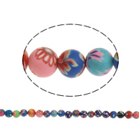 Бусины из полимерной глины, полимерный клей, Круглая, Связанный вручную, с цветочным узором, разноцветный, 6mm, отверстие:Приблизительно 1mm, длина:Приблизительно 9 дюймовый, 20пряди/сумка, Приблизительно 40ПК/Strand, продается сумка