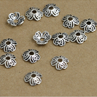 Thailand Sterling Silver Bead Caps, Flower, hollow, 9mm, Hole:Approx 1-3mm, 60PCs/Lot, Sold By Lot