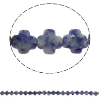 Natural Blue Spot Stone Beads, Cross, 8x4mm, Hole:Approx 1mm, Approx 50PCs/Strand, Sold Per Approx 16 Inch Strand