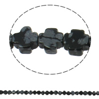 Natural Snowflake Obsidian Beads, Cross, 8x4mm, Hole:Approx 1mm, Approx 50PCs/Strand, Sold Per Approx 16 Inch Strand