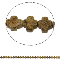 Natural Picture Jasper Beads, Cross, 8x4mm, Hole:Approx 1mm, Approx 50PCs/Strand, Sold Per Approx 16 Inch Strand
