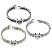 Stainless Steel Cuff Bangle, Heart, plated, more colors for choice, 9mm, 19x17x7mm, Inner Diameter:Approx 58x51mm, Length:Approx 6.5 Inch, Sold By PC
