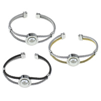 Stainless Steel Cuff Bangle, with Plastic Pearl, plated, more colors for choice, 3mm, 18x11mm, Inner Diameter:Approx 64x47mm, Length:Approx 6.5 Inch, Sold By PC