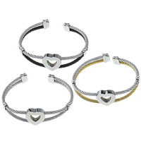 Stainless Steel Cuff Bangle, Heart, plated, more colors for choice, 3mm, 18x17x5mm, Inner Diameter:Approx 60x48mm, Length:Approx 6.5 Inch, Sold By PC