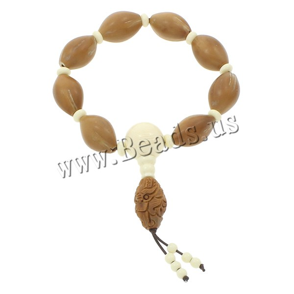Buy Wrist Mala Olivary Nucleus Ox Bone & nylon elastic cord Horse Eye Buddhist jewelry coffee color 16x24mm Length:Approx 7.5 Inch 3Strands/Bag 9PCs/Strand Sold Bag