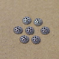 Thailand Sterling Silver Bead Caps, 7mm, Hole:Approx 1-3mm, 60PCs/Lot, Sold By Lot