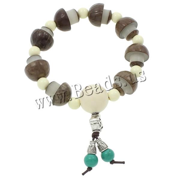 Buy Wrist Mala Bodhi Root Ox Bone & nylon elastic cord & turquoise & Resin & Zinc Alloy mushroom Buddhist jewelry 18mm 16x16mm Length:Approx 7.5 Inch 5Strands/Bag 9PCs/Strand Sold Bag